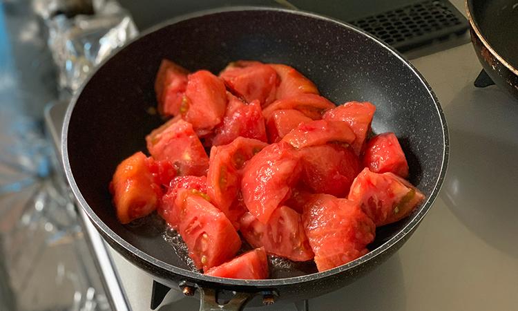 海老トマトつけ麺 作り方
