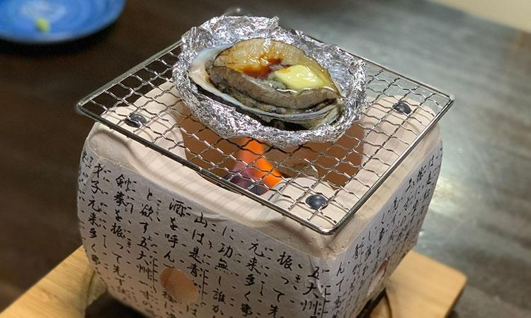 民芸コンロ アワビのバター焼き
